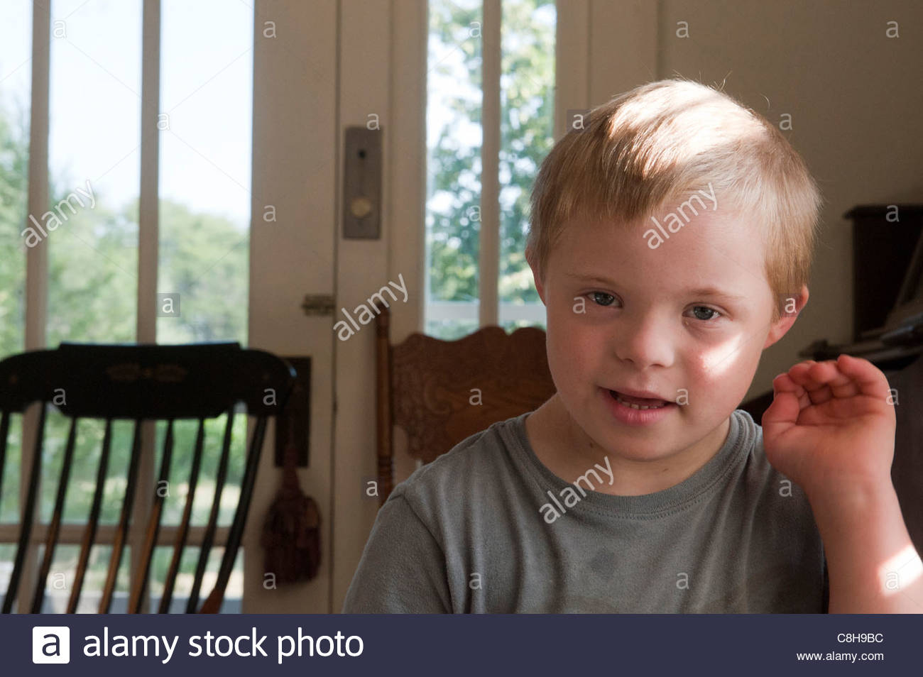 Portrait of a 6-year-old boy in Wilson, Kansas. - Stock Image
