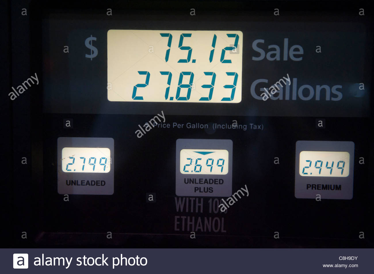 The final sale at a gas pump in Lincoln, NE. - Stock Image