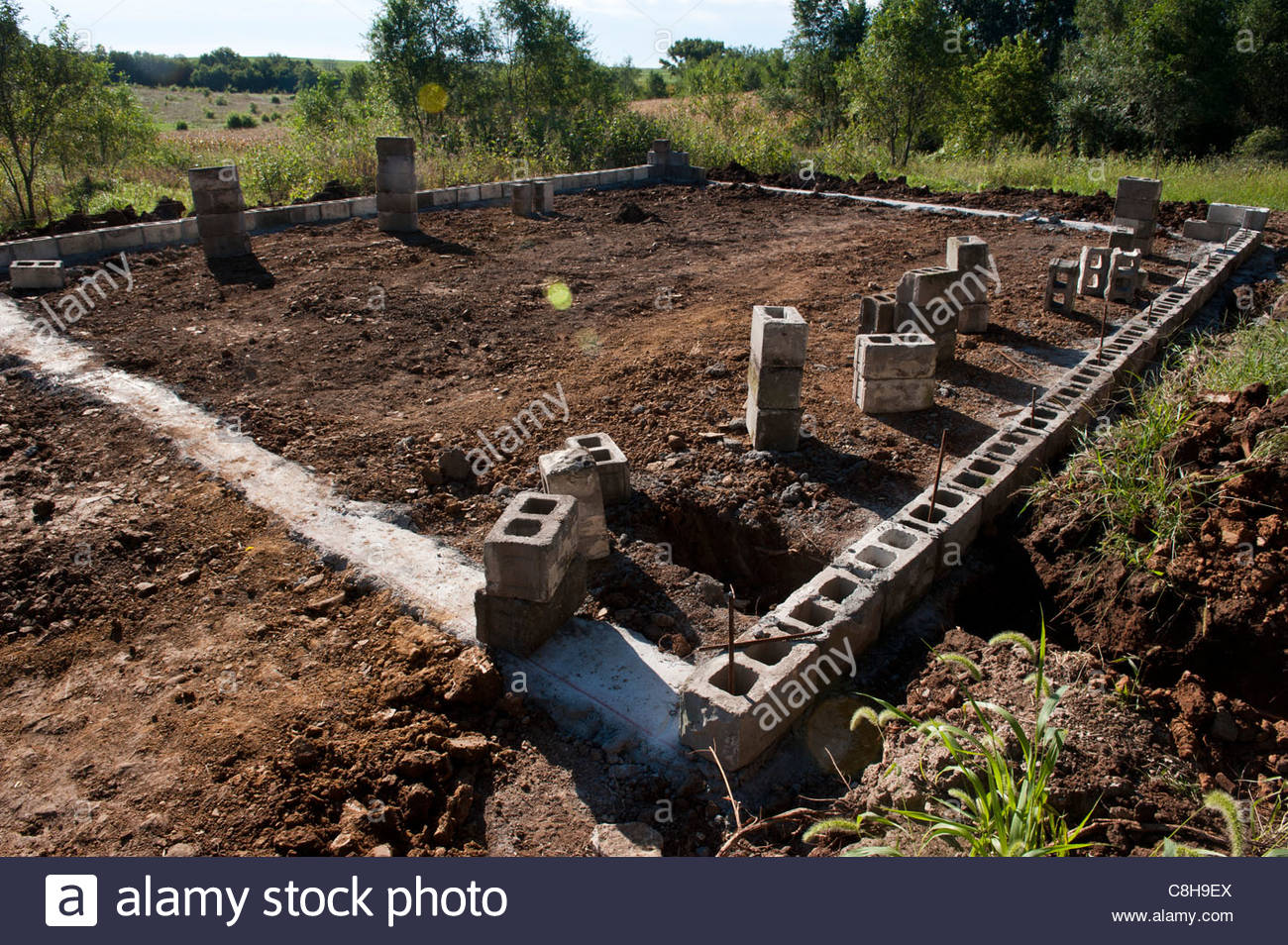 A foundation is laid for receiving a barn at a farm in Dunbar, NE. - Stock Image