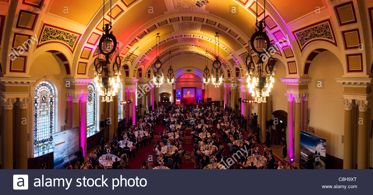The Great Hall in Belfast's City Hall laid out for a function. - Stock Image