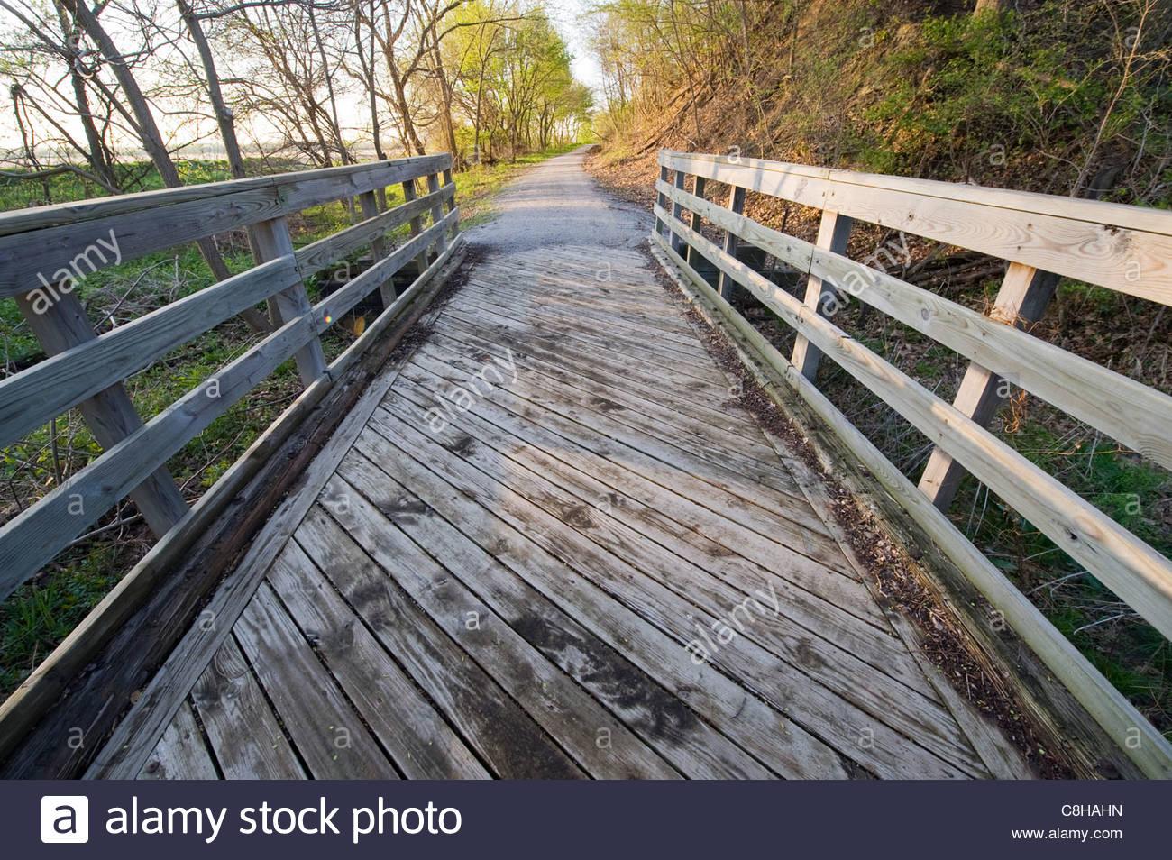 The start of the Steamboat Trace trail near Nebraska City, NE. - Stock Image