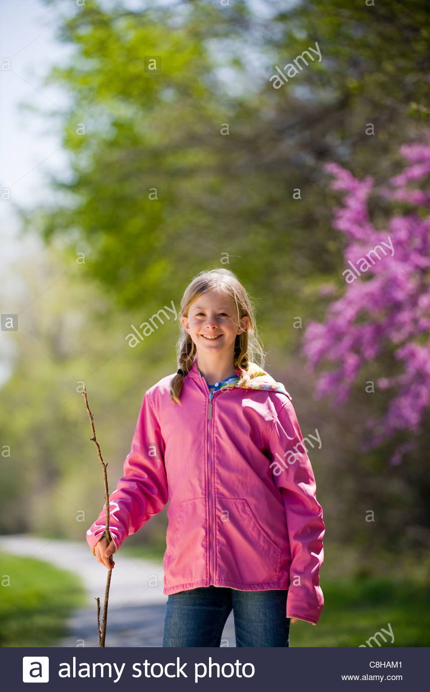Portrait of a girl on the Steamboat Trace trail near Brownville, NE. - Stock Image