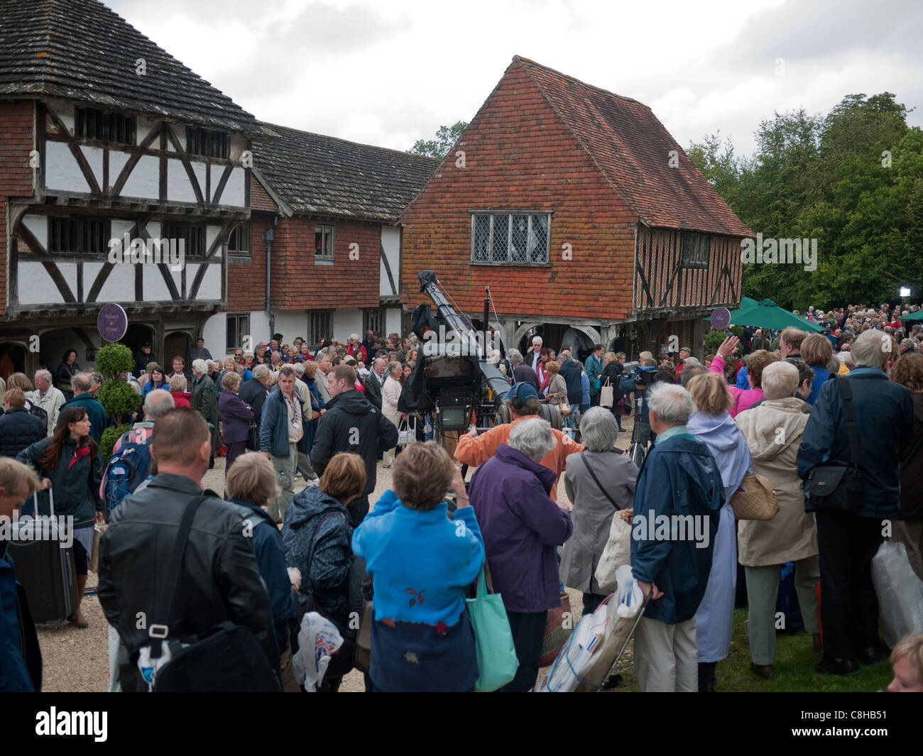 Filming the BBC television program The Antique Roadshow at the Weald and Downland open air museum,Chichester West Stock Photo