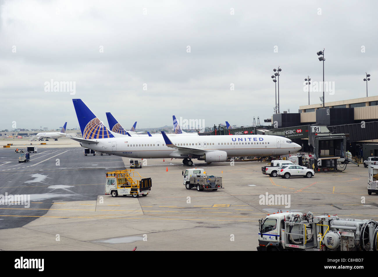 United Airlines merged with Continental in 2010 as now the world's largest airline. - Stock Image