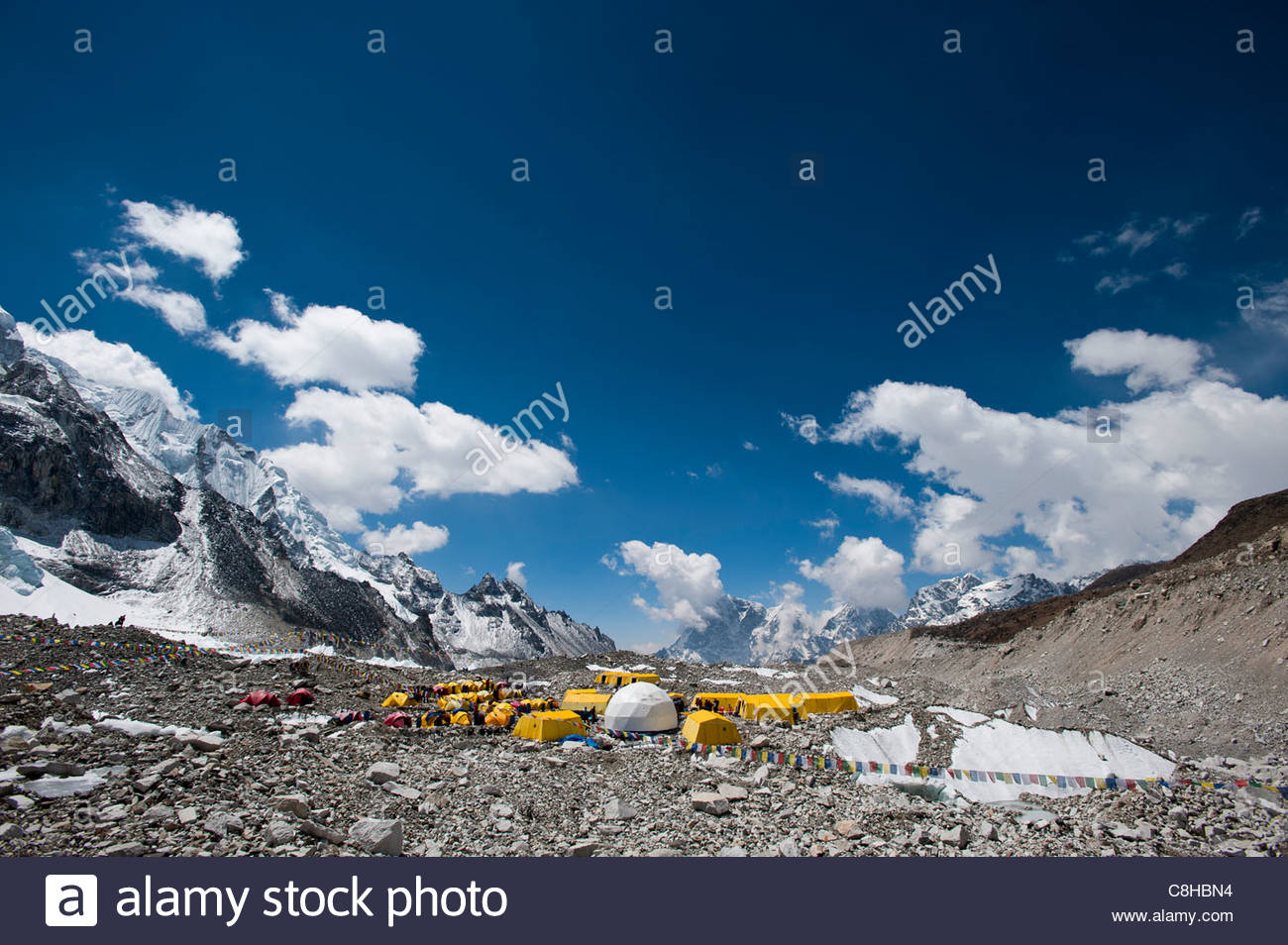 Everest base camp is a temporary city at 5500m on the Khumbu glacier - Stock Image