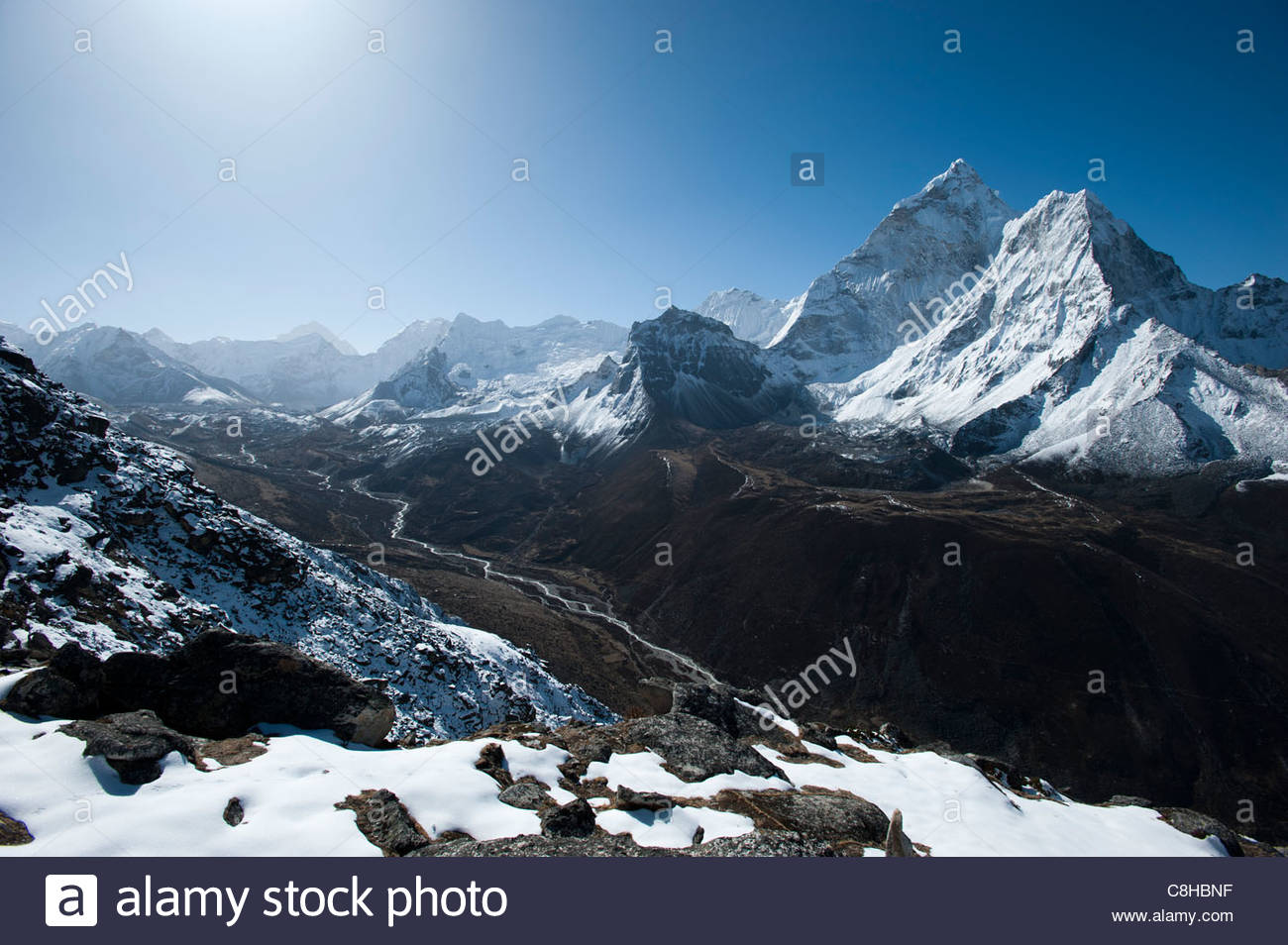 Ama Dablam from above Dingboche. Makalu is also visible distant left - Stock Image