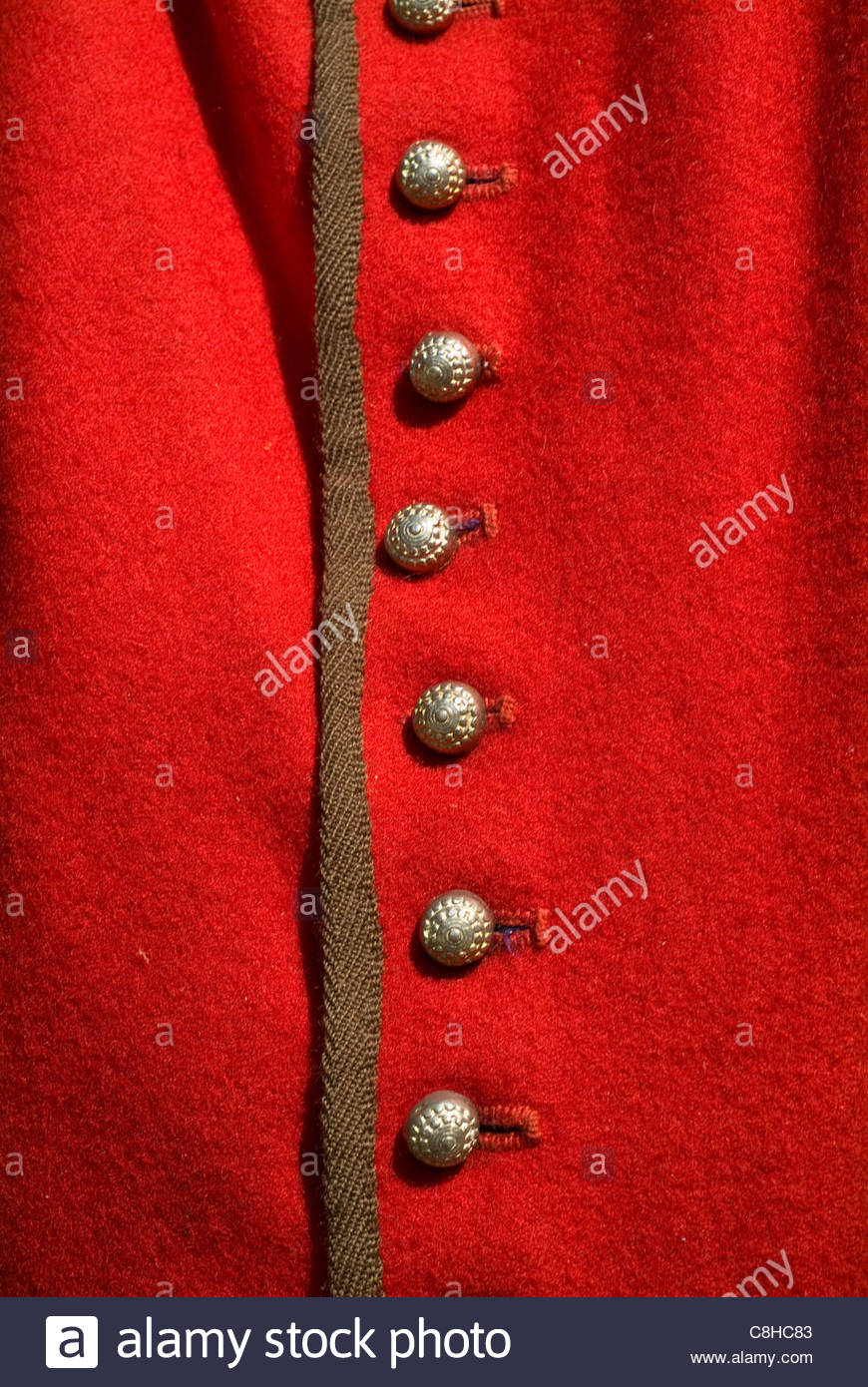 Jamestown Settlement close up details of clothing worn by first settlers. - Stock Image