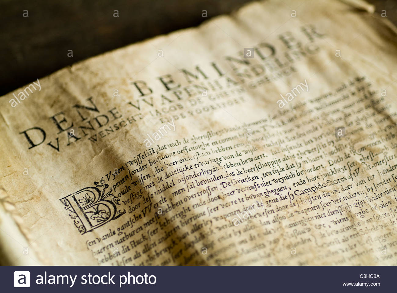 old book on display written in old english - Stock Image