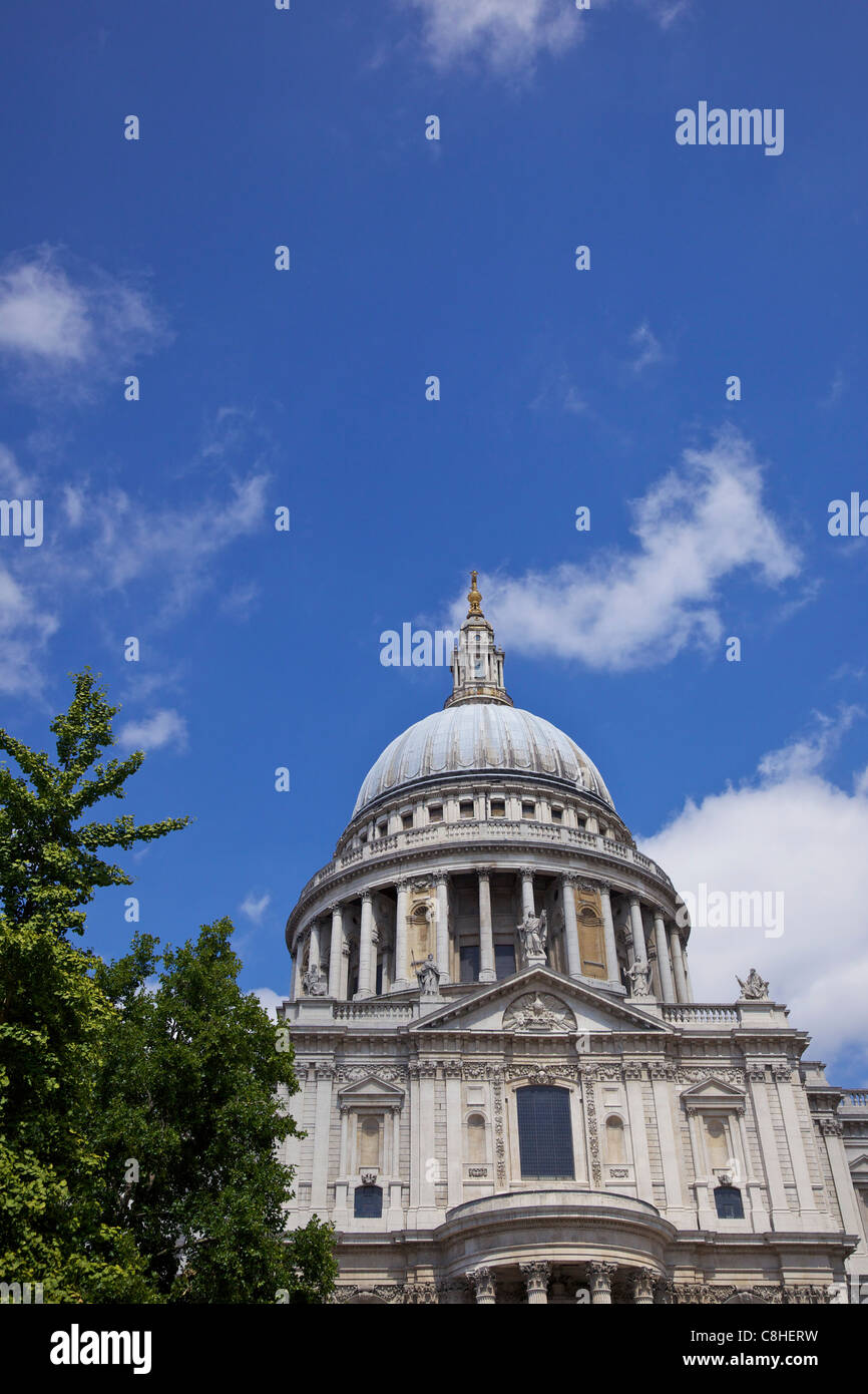 Dome of St Paul's Cathedral, City of London, England, UK, United Kingdom, GB, Great Britain, British Isles, - Stock Image
