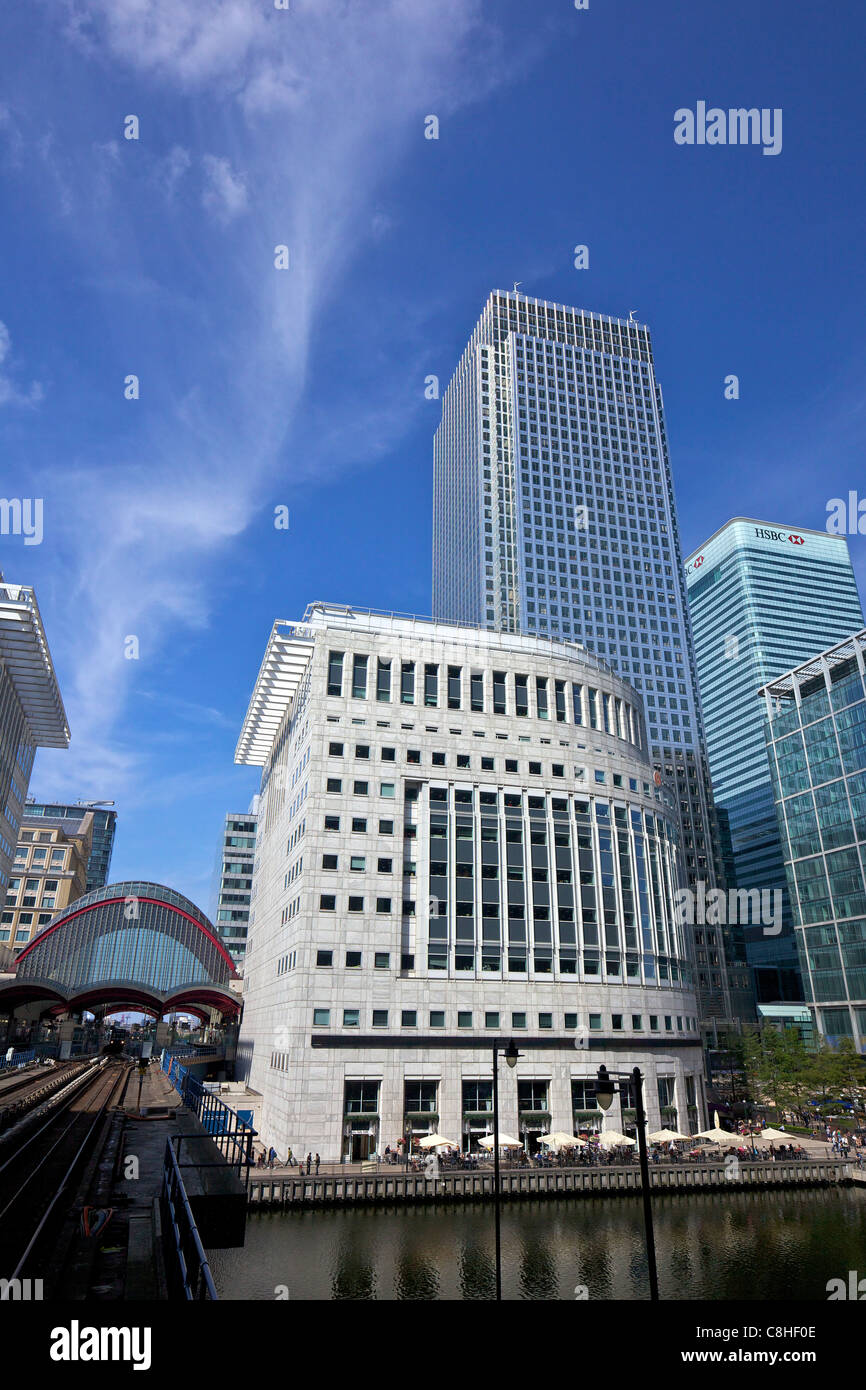 Canary Wharf DLR station and modern buildings at Canary Wharf, West India Docks, Isle of Dogs, East London, England, - Stock Image