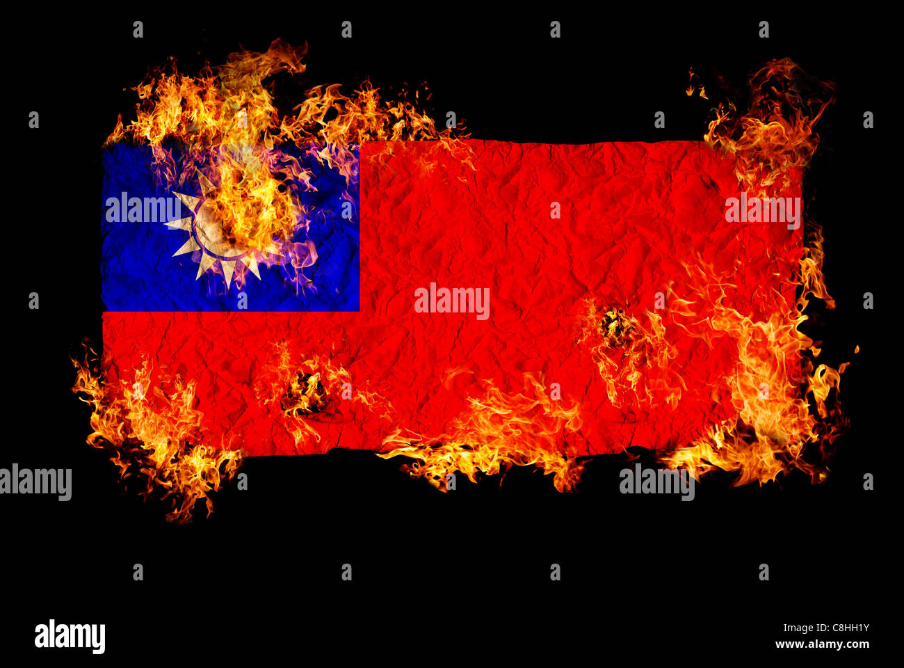 Chinese Flag Burning Stock Photos Chinese Flag Burning Stock
