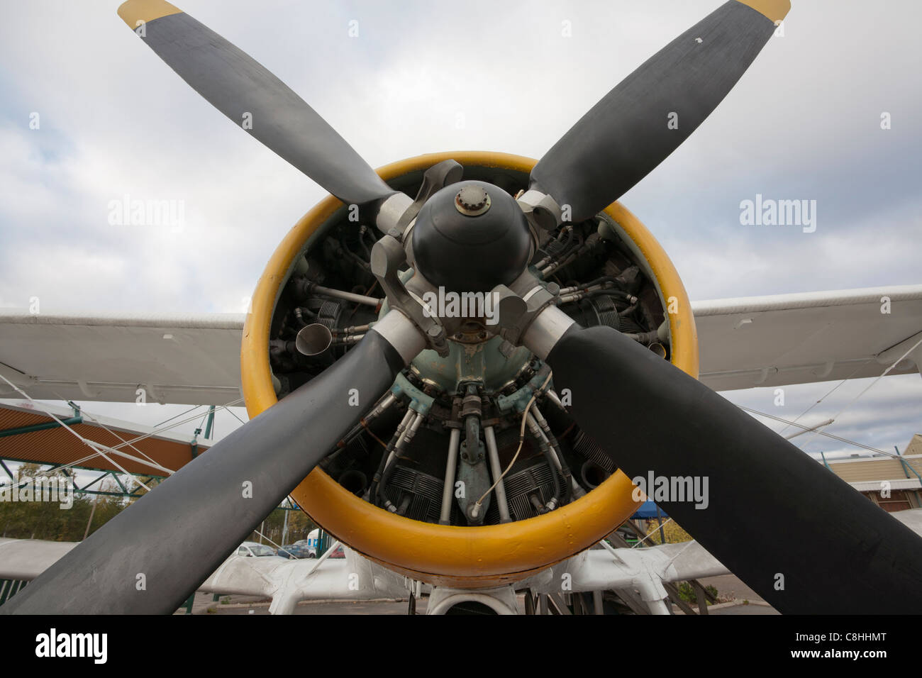 Antonov An-2 airplane engine and propeller - Stock Image