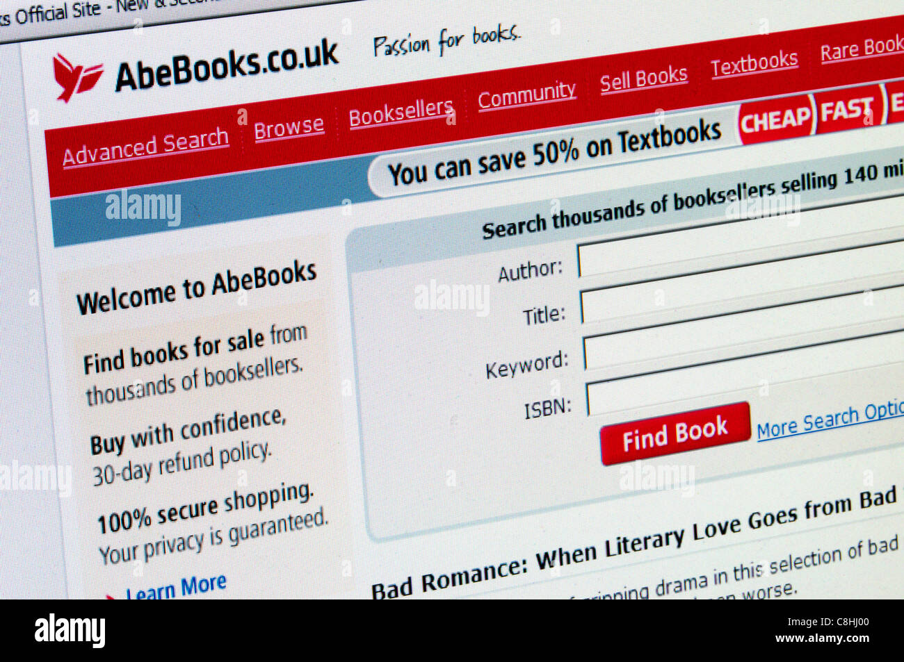 AbeBooks website.  AbeBooks has been owned by Amazon since 2008. - Stock Image
