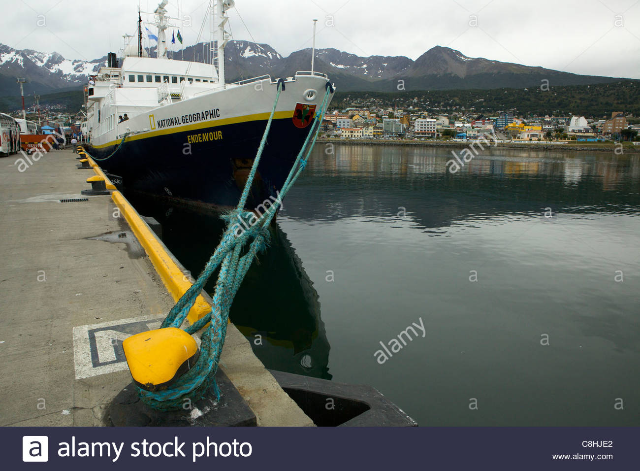 National Geographic Endeavor at the dock in Ushuaia, Argentina. - Stock Image
