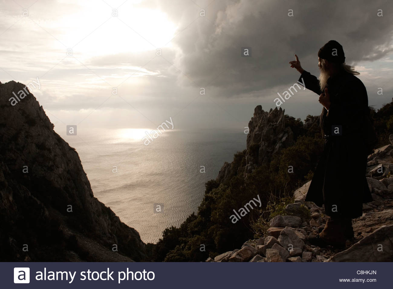 Father Kalistratos lives as a hermit above New Skete. - Stock Image