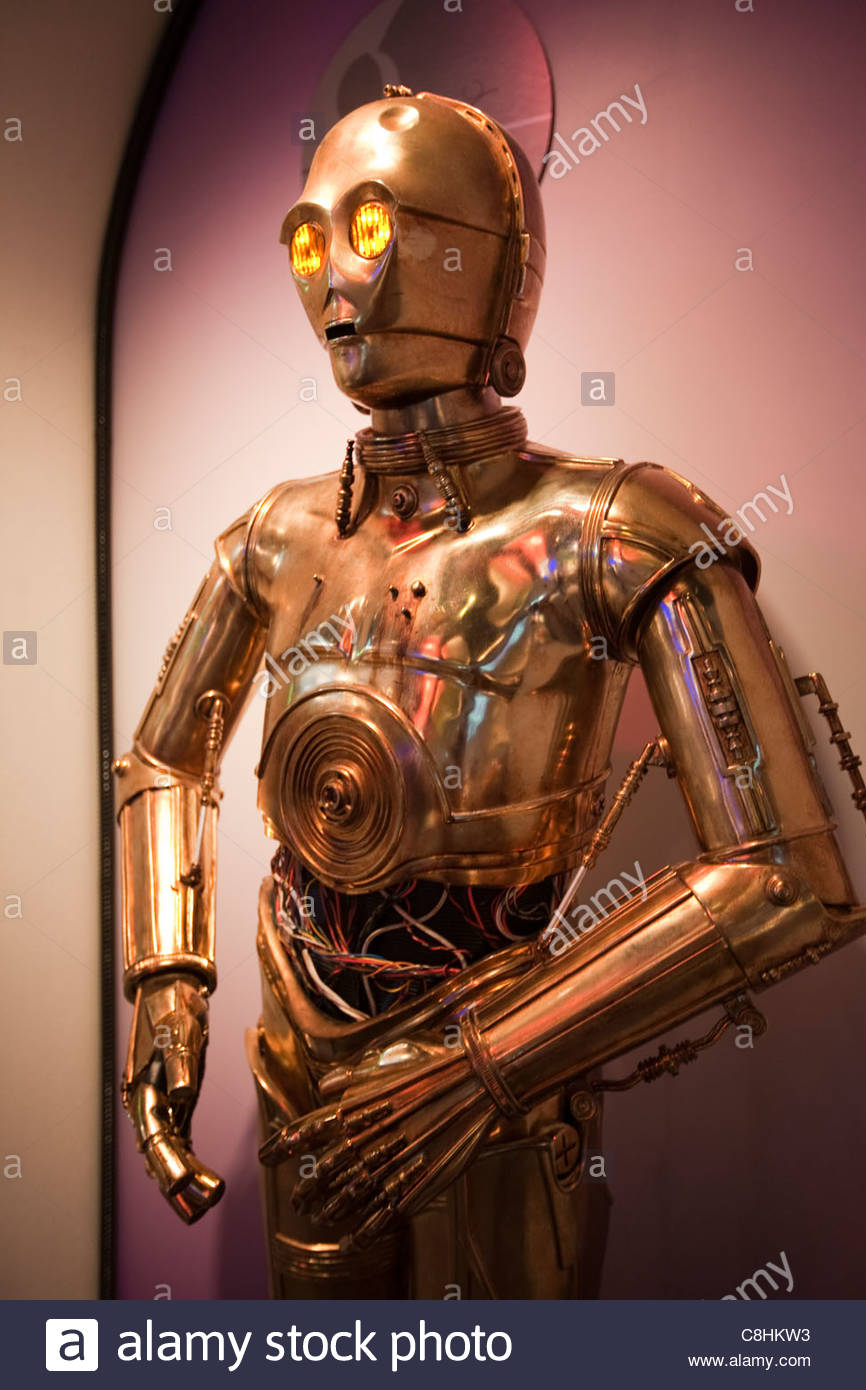 Star Wars robot, C-3PO, at the Carnegie Science Center robot exhibit. - Stock Image