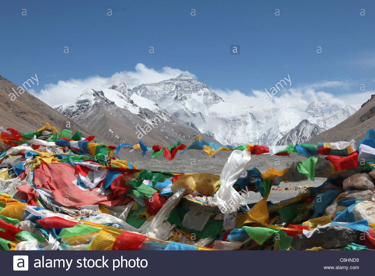 Everest Base Camp at approximately 17,000 feet. - Stock Image