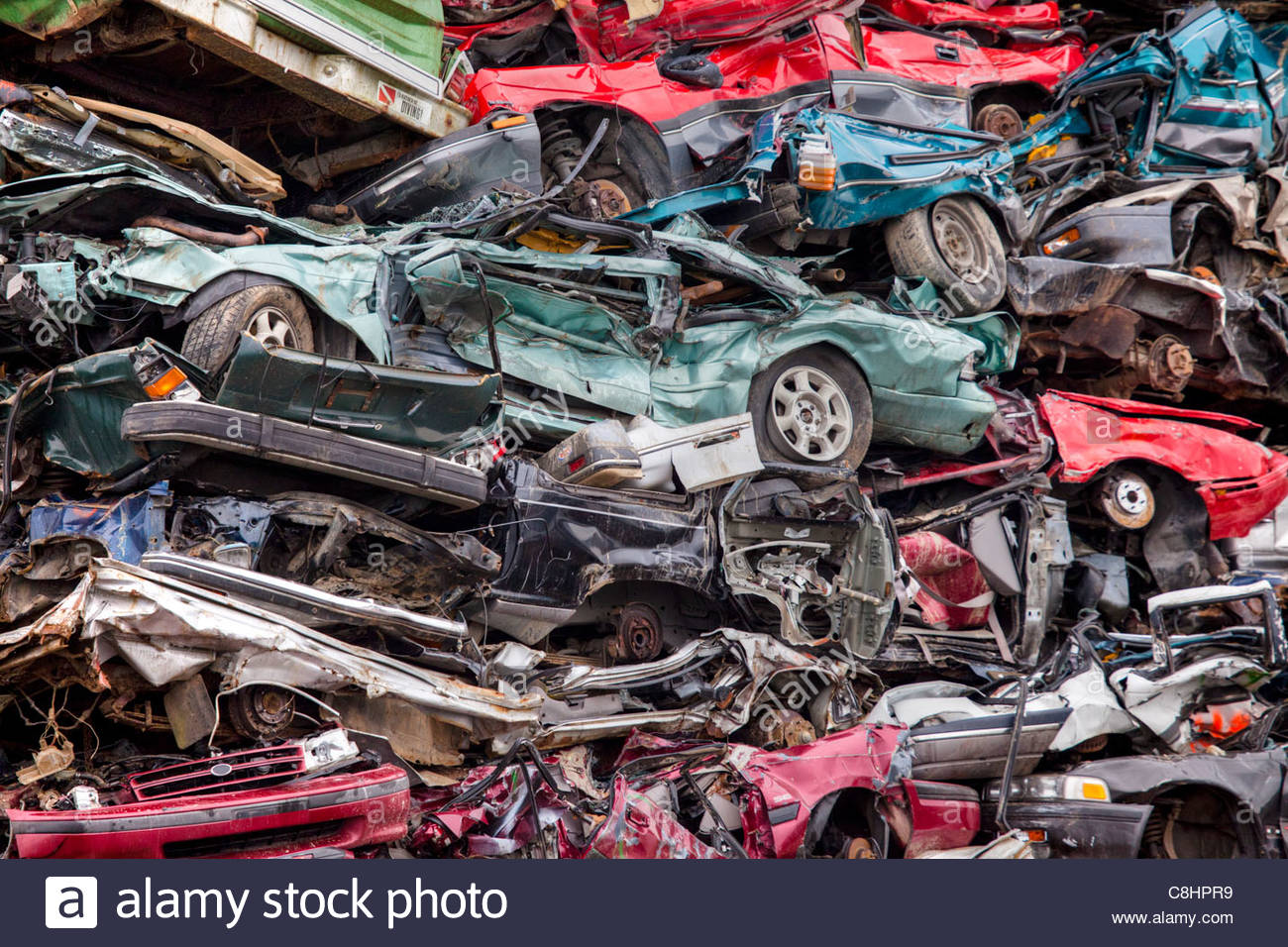 Recycling of metal-based consumer products in a scrap yard. - Stock Image