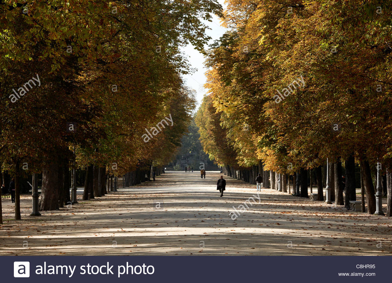 Parma residents stroll through tree-lined promenades in Parco Ducale. Stock Photo