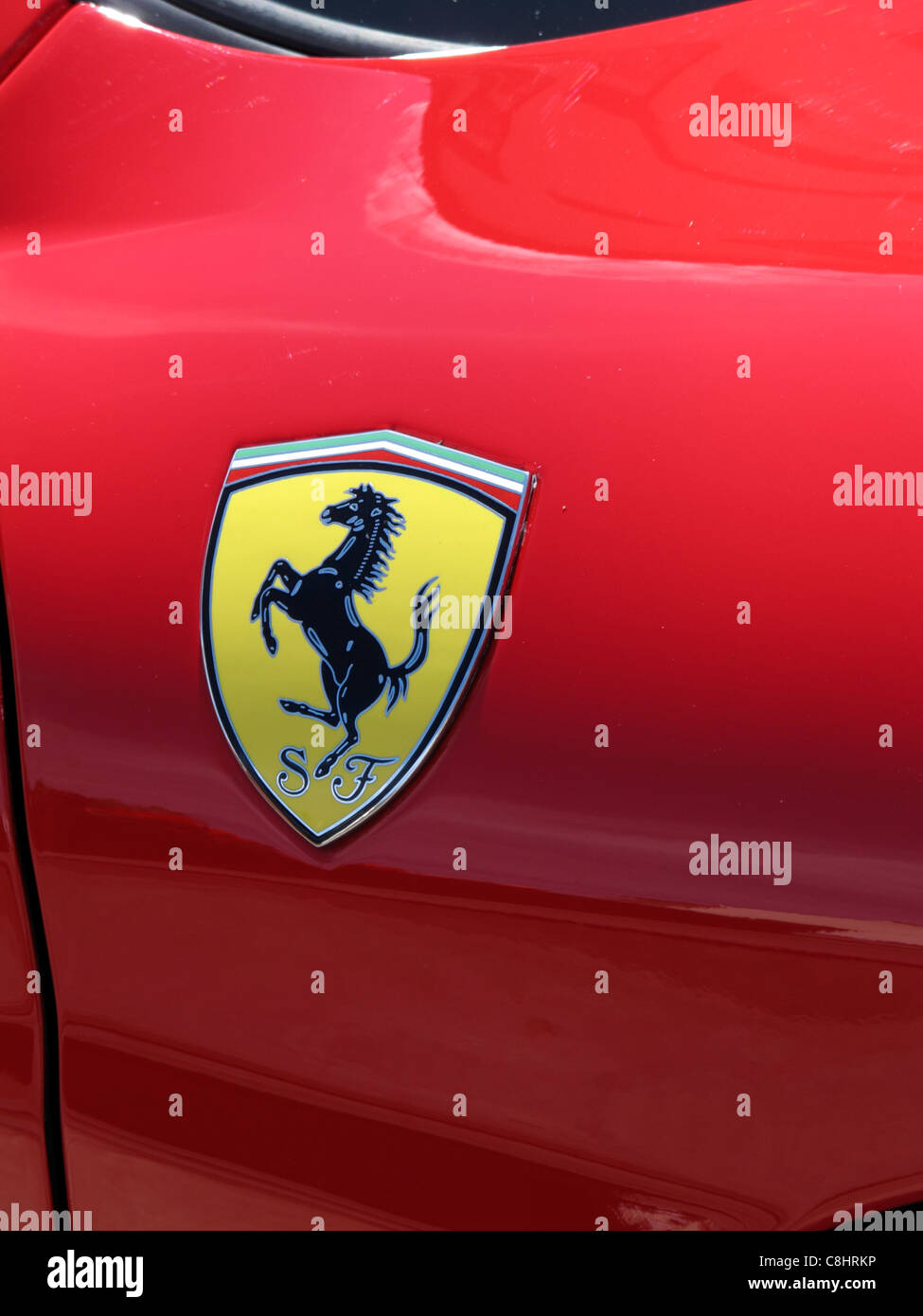 Ferrari Logo Badge On A Luxury Red Sports Car Conway North Wales Uk