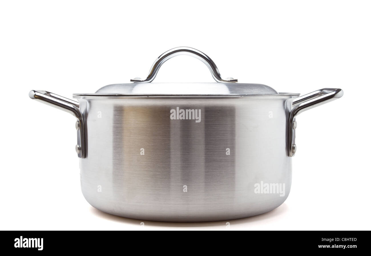 Silver cooking pot from low perspective isolated on white. - Stock Image