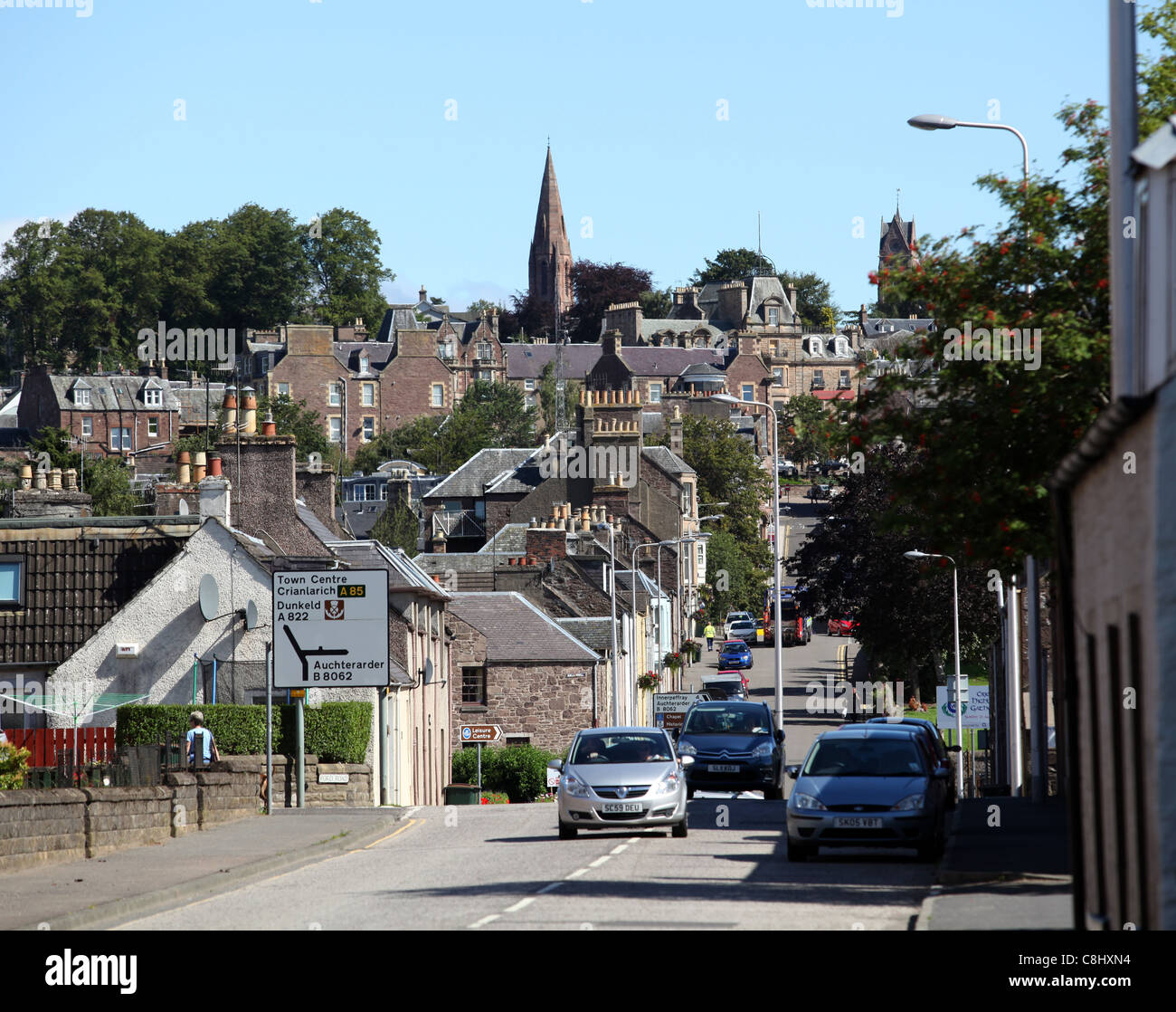 The town centre of Crieff in Perthshire, Scotland, UK - Stock Image