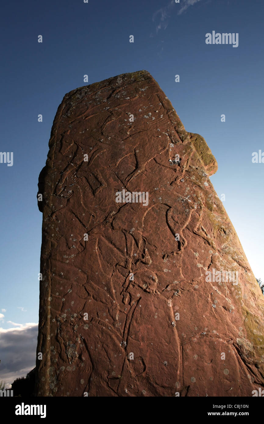 The Pictish carved standing stone in the village of Fowlis Wester near Crieff, Perthshire, Scotland, UK Stock Photo