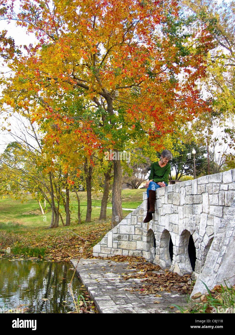 autumn, fall, colors, by yourself, decisions, elderly, lady, Ennis, health, healthy, Lions Park, model released, - Stock Image