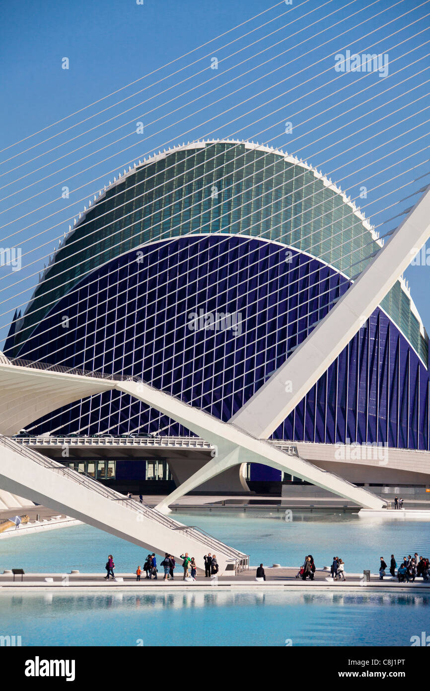 Spain, Europe, Valencia, City of Arts and Science, Calatrava, architecture, modern, Agora, water - Stock Image