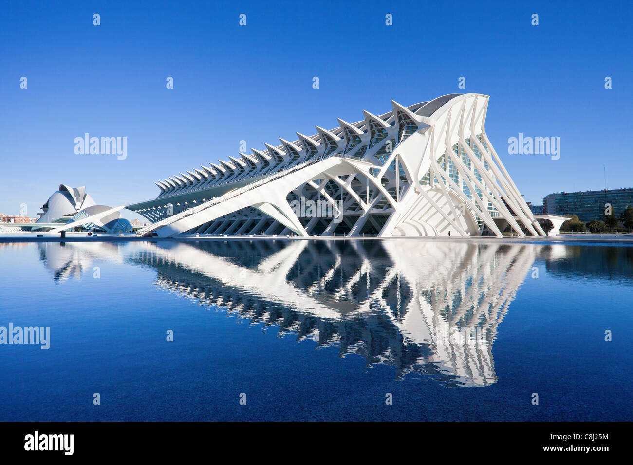 Spain, Europe, Valencia, City of Arts and Science, Calatrava, architecture, modern, water Stock Photo