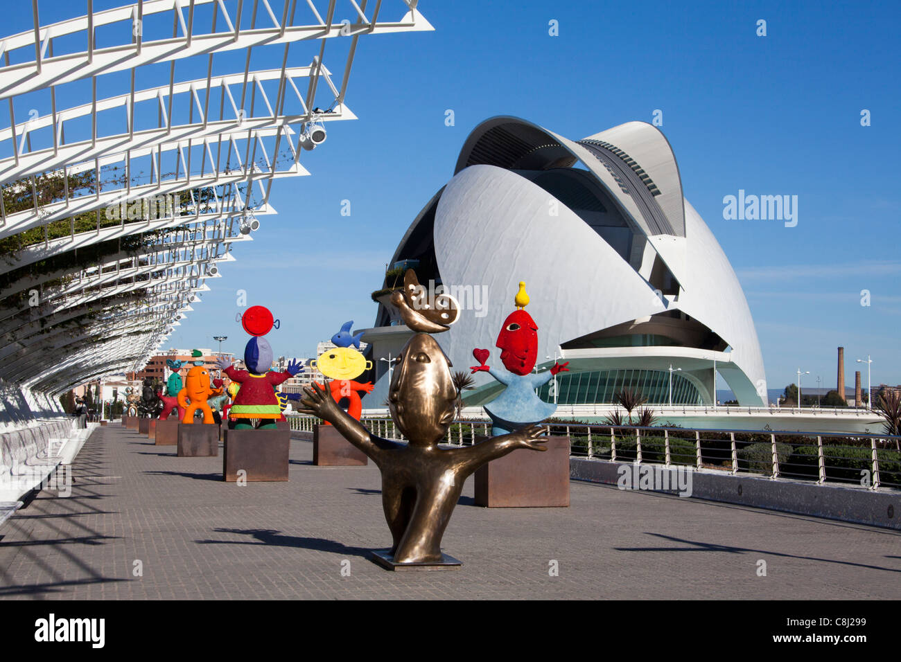 Spain, Europe, Valencia, City of Arts and Science, Calatrava, architecture, modern, Joan Ripolles, sculpture, arts, - Stock Image