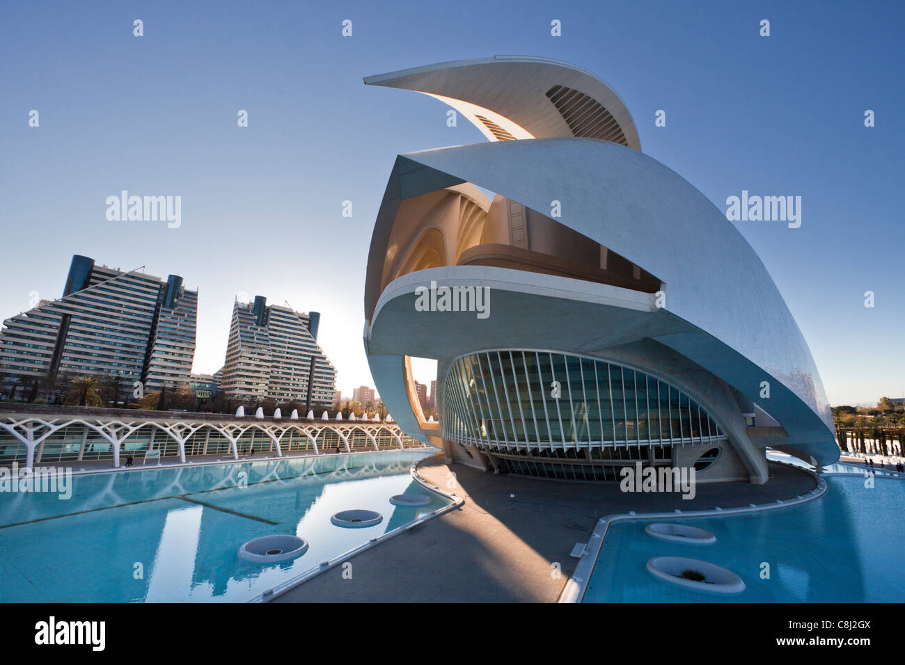 Spain, Europe, Valencia, City of Arts and Science, Calatrava, architecture, modern, Palace of Arts, water Stock Photo