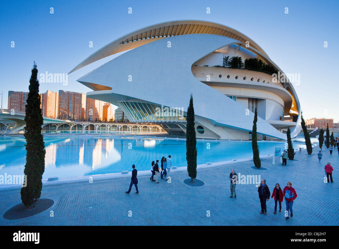Spain, Europe, Valencia, City of Arts and Science, Calatrava, architecture, modern, Palace of Arts, water - Stock Image