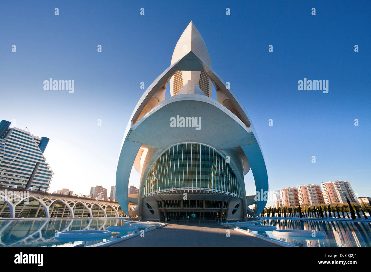 Spain, Europe, Valencia, City of Arts and Science, Calatrava, architecture, modern, Joan Ripolles, sculpture, art, - Stock Image