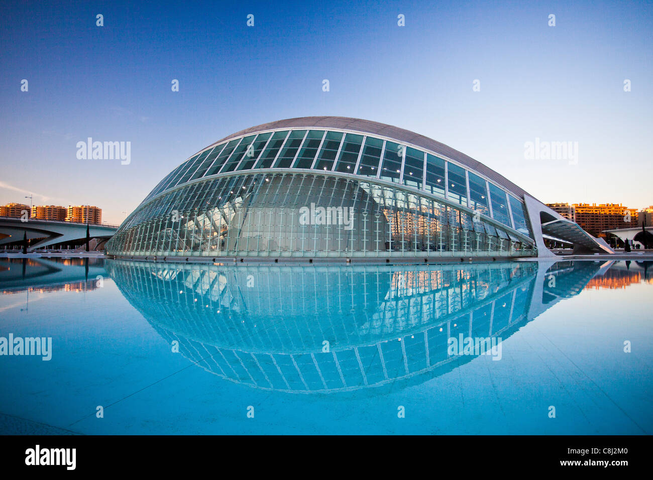 Spain, Europe, Valencia, City of Arts and Science, Calatrava, architecture, modern, Hemisferic, water - Stock Image