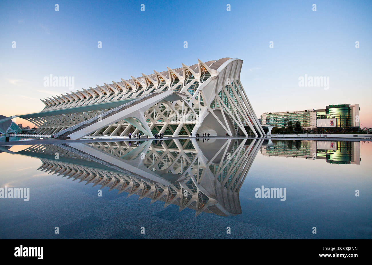 Spain, Europe, Valencia, City of Arts and Science, Calatrava, architecture, modern, water - Stock Image