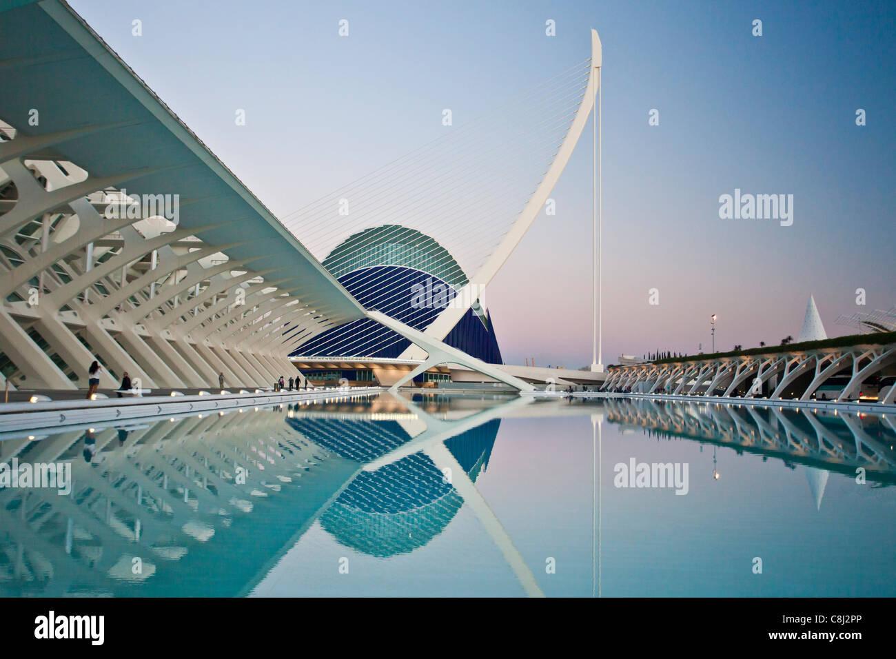 Spain, Europe, Valencia, City of Arts and Science, Calatrava, architecture, modern, Assut del Or, Bridge, Agora, - Stock Image