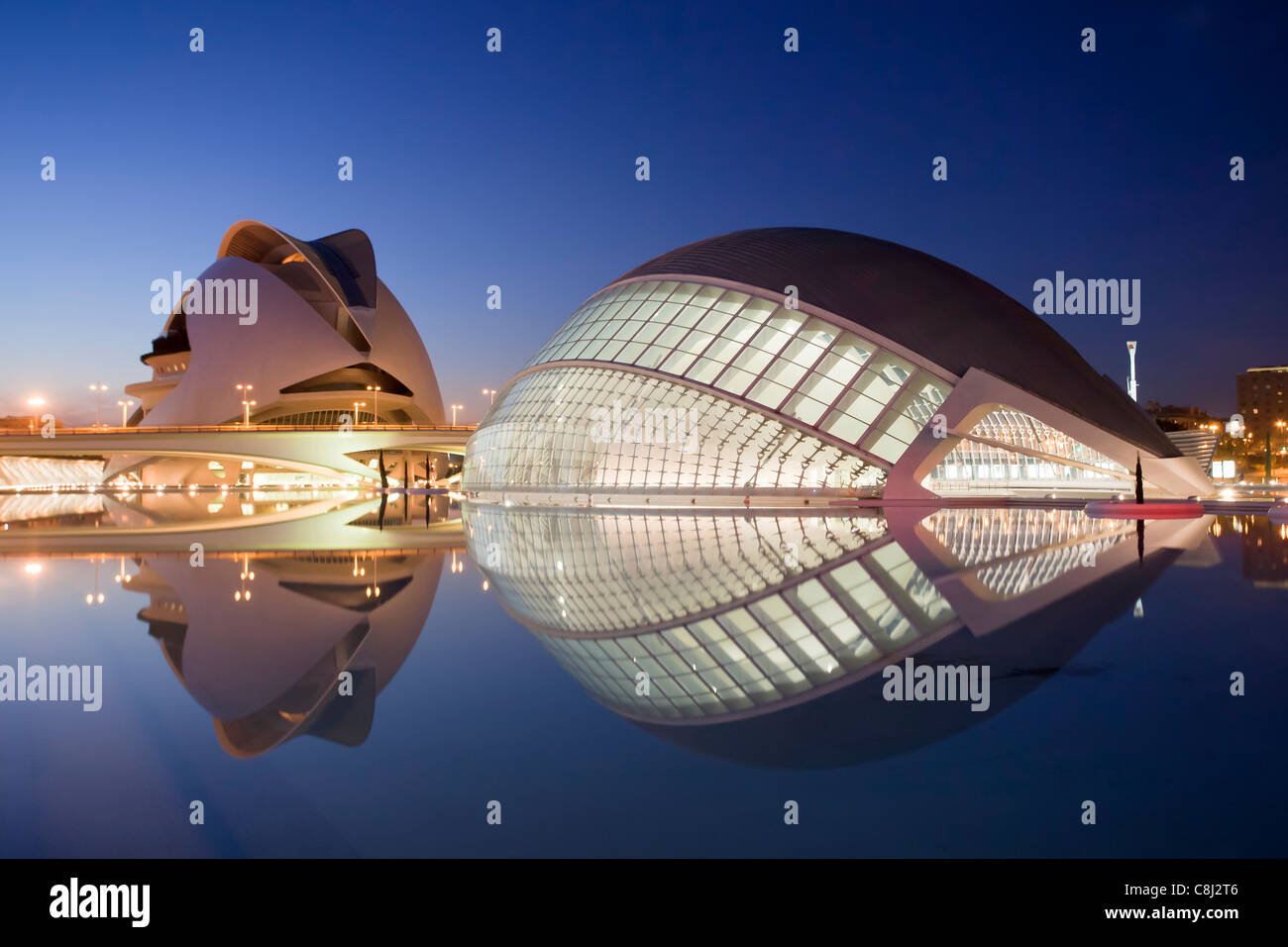 Spain, Europe, Valencia, City of Arts and Science, Calatrava, architecture, modern, Hemisferic, Palace of Arts, - Stock Image