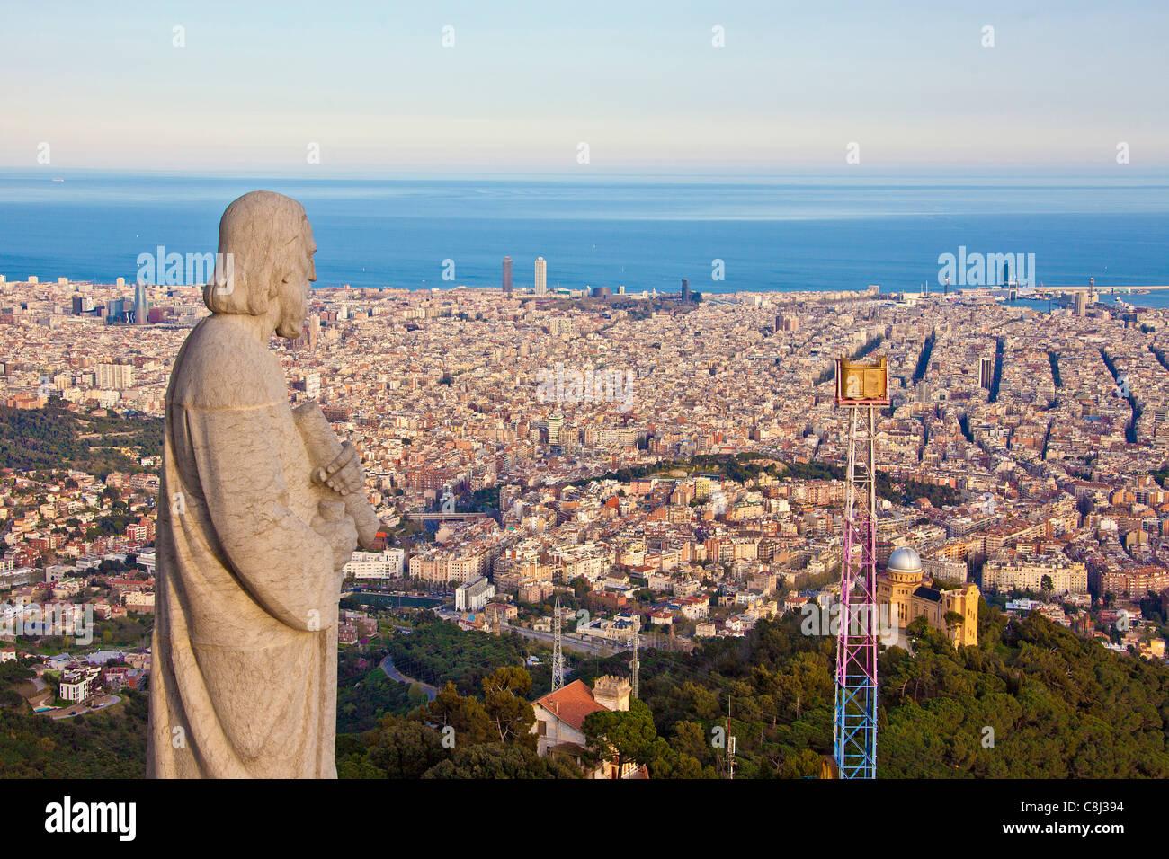 Spain, Europe, Catalunya, Barcelona, city, overview, from Tibidabo, Mountain, statue - Stock Image