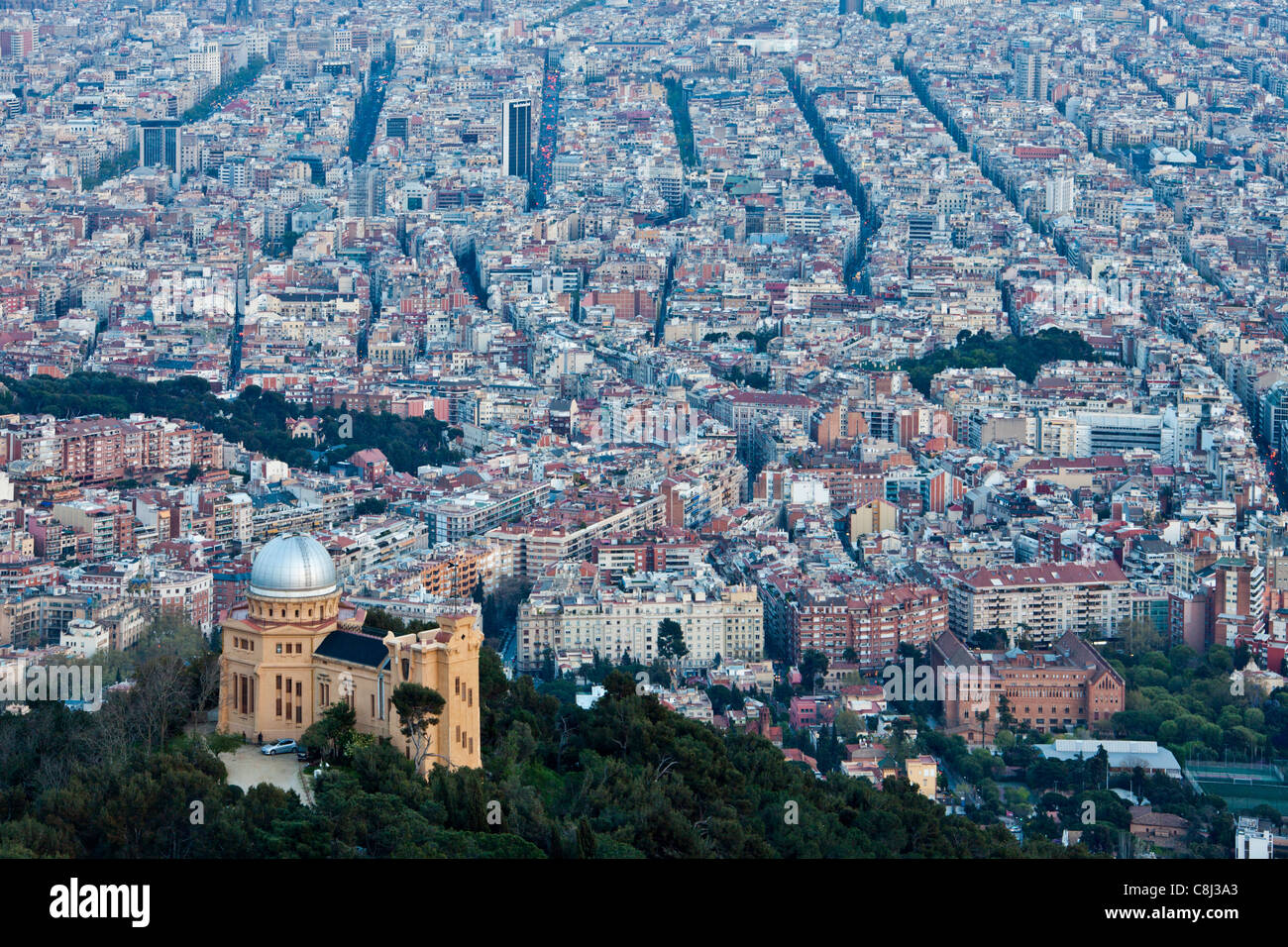 Spain, Europe, Catalunya, Barcelona, city, overview, from Tibidabo, Mountain, observatory - Stock Image