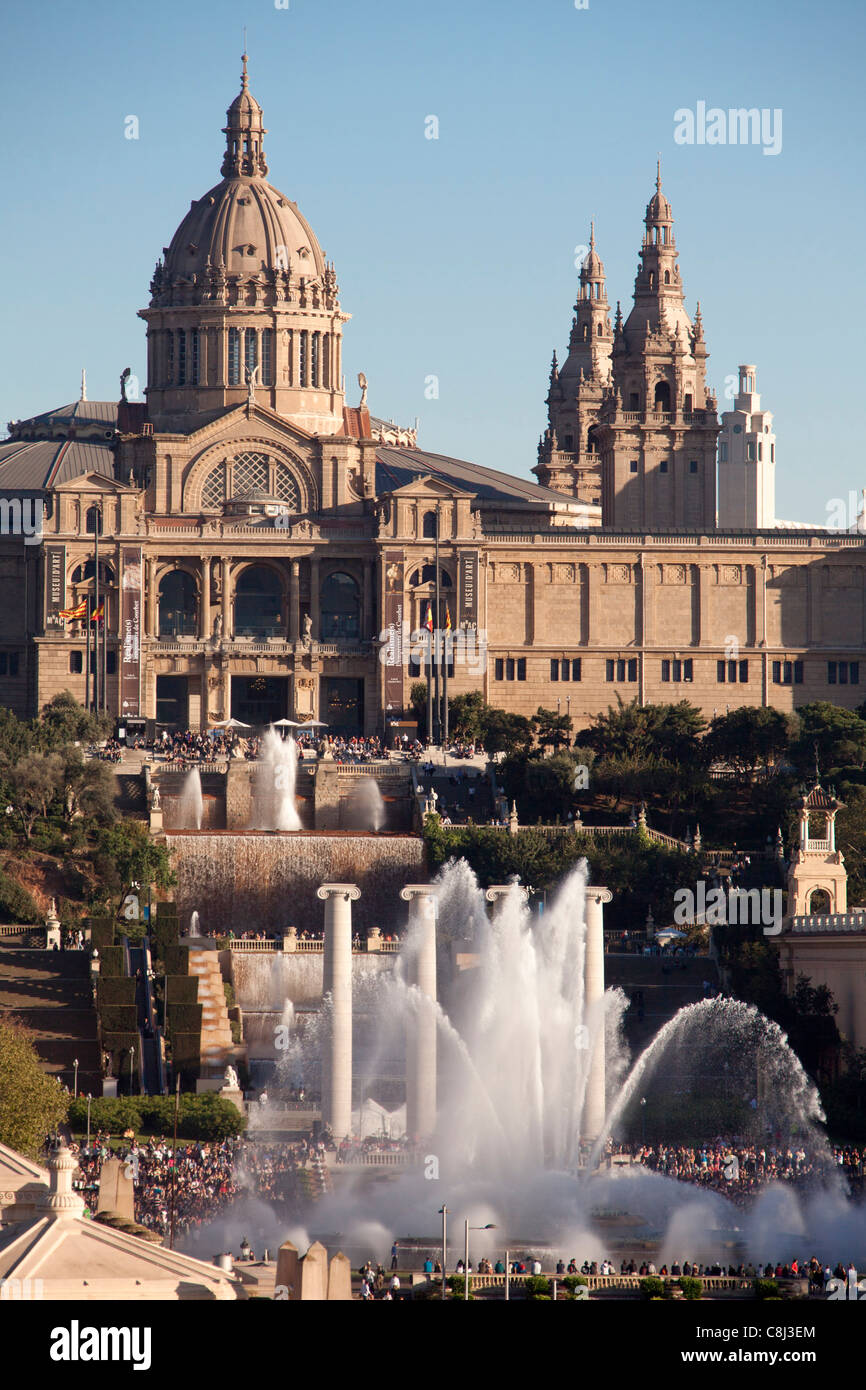 Spain, Europe, Catalunya, Barcelona, Espana Square, Montjuich, Palace, fountains - Stock Image