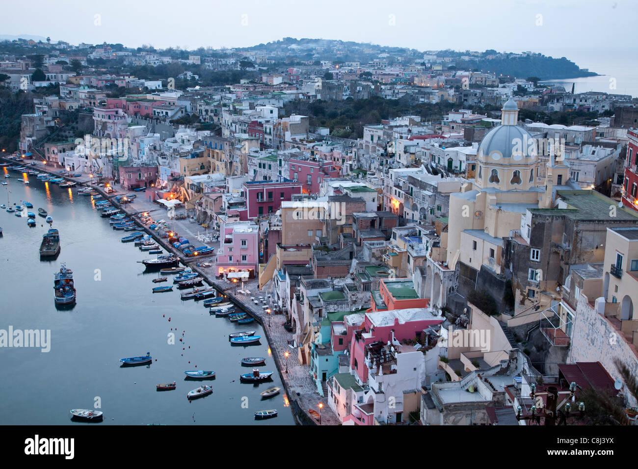 Abendstimmung, Campania, Fischereihafen, Golf von Neapel, Hafen, Insel, Italien, Kampanien, Meer, Mittelmeer, Procida, - Stock Image