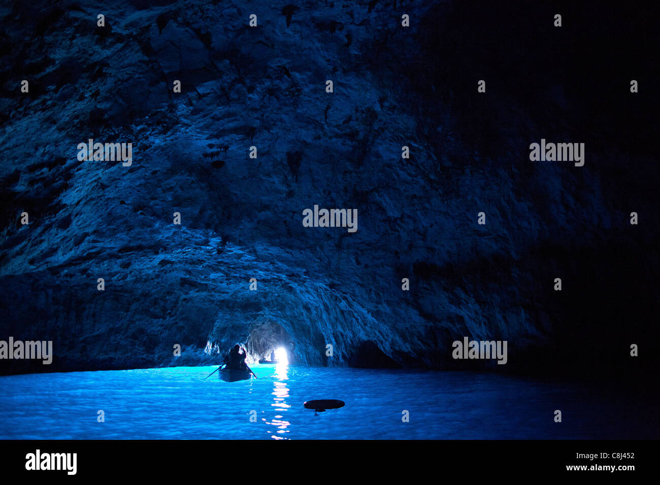 Ausflug, Blaue Grotte, Campania, Capri, Fels, Golf von Neapel, Grotte, Insel, Italien, Kampanien, Meer, Mittelmeer, - Stock Image