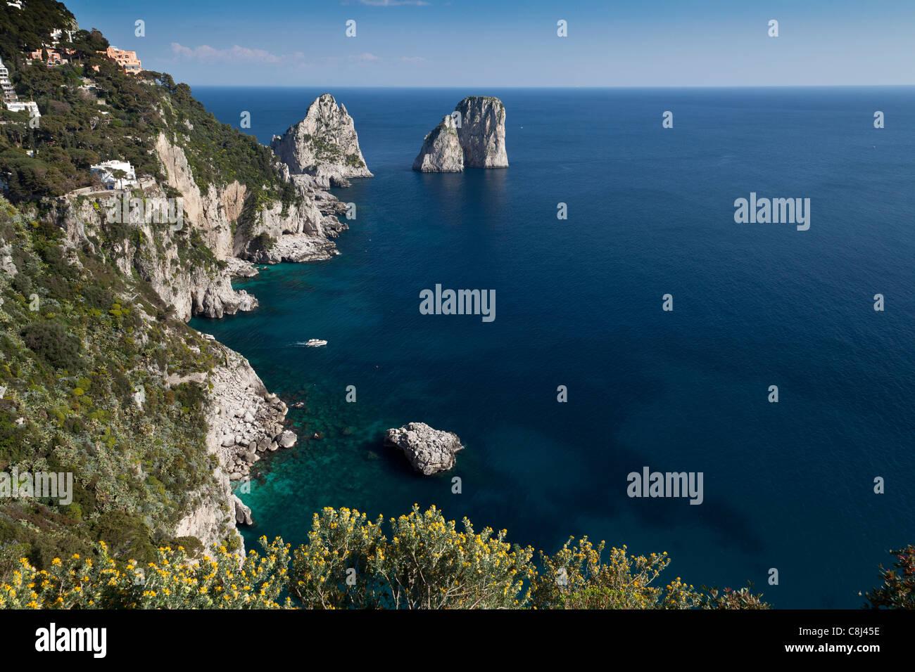 Campania, Capri, Fels, Golf von Neapel, Il Capo, Insel, Inselgruppe, Italien, Kampanien, Meer, Mittelmeer - Stock Image