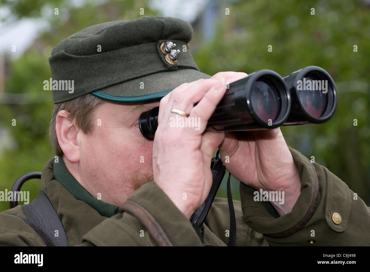 Hunter, Rifleman, hunt, go hunting, race, sight, envisage, binoculars, look, looks, deerstalking, stalk Stock Photo
