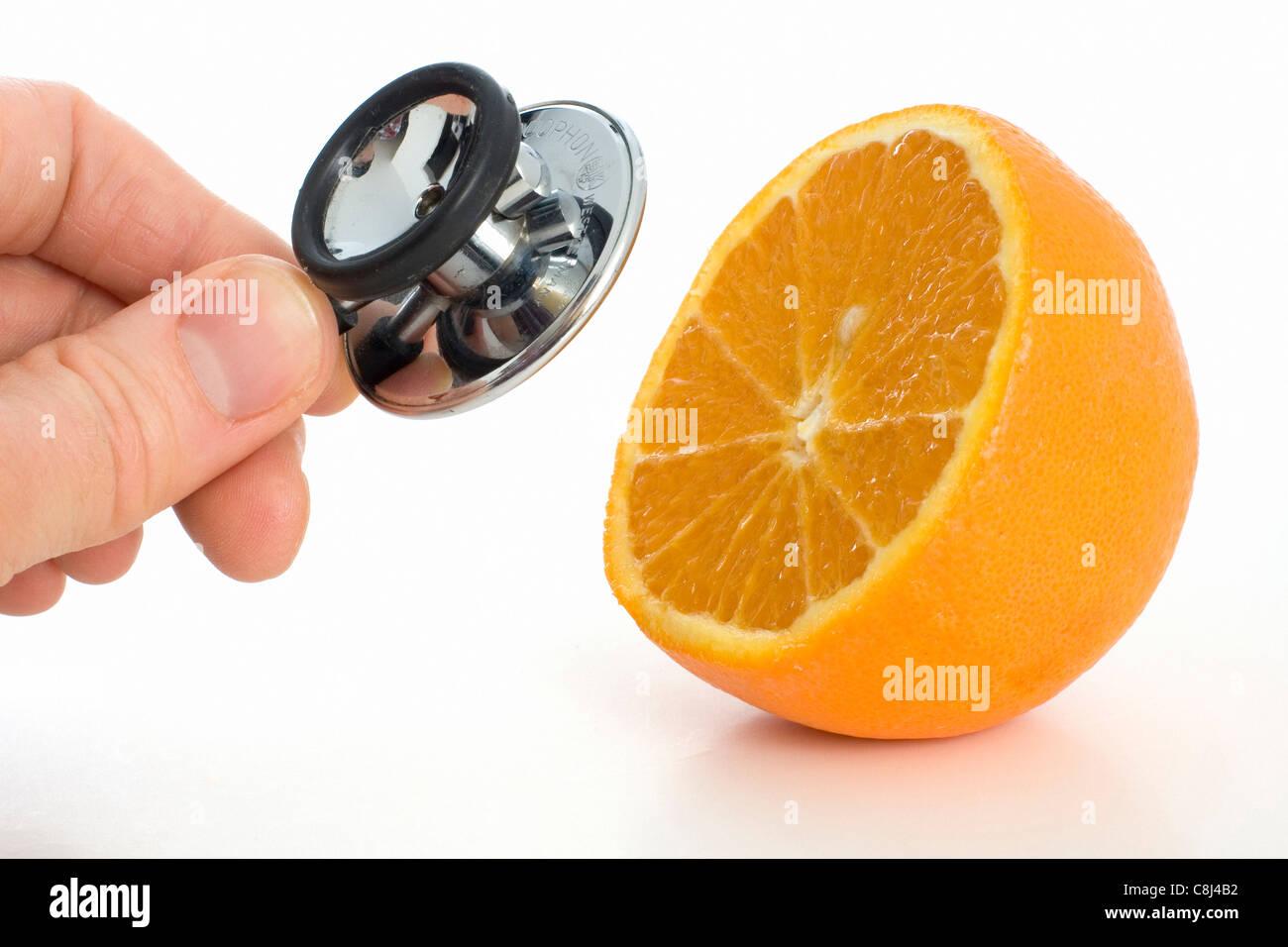 Orange, vitamin, vitamin C, vitamins, rich in vitamins, healthy, health, food, juice, fruit, cold, prevent, stethoscope, - Stock Image