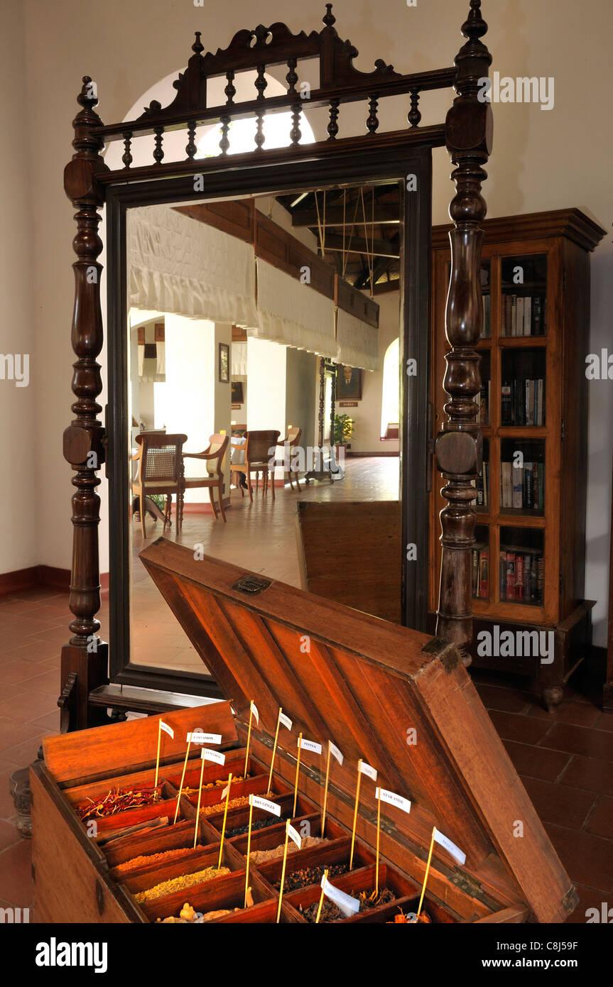 Foyer Interior Of The Brunton Boat House Fort Kochi Showing Sandalwood  Furniture, Spice Sample Chest