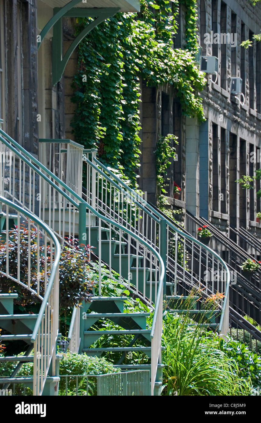 Montreal Typical staircases - Stock Image