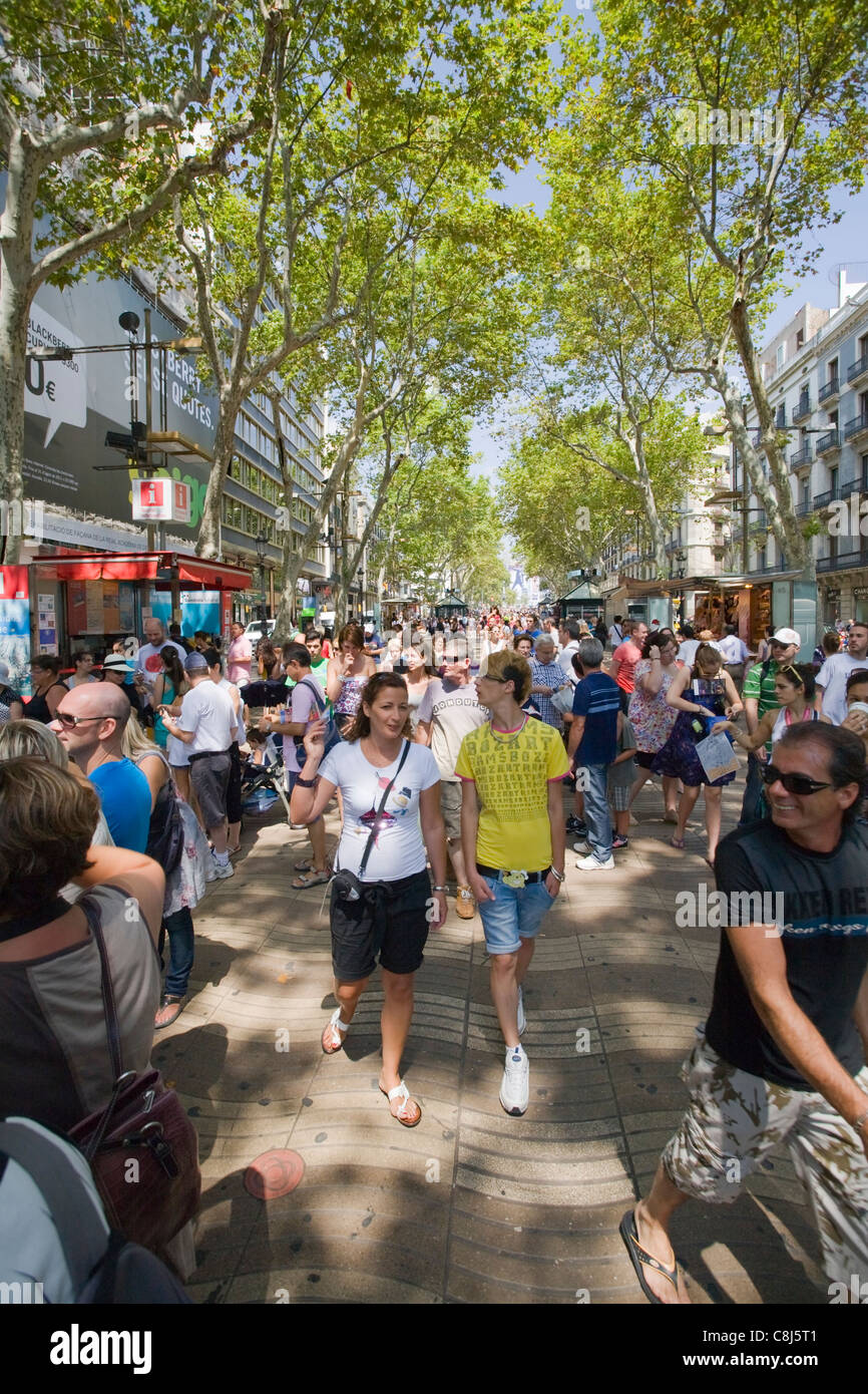 Las Ramblas walking street, Barcelona, Spain - Stock Image