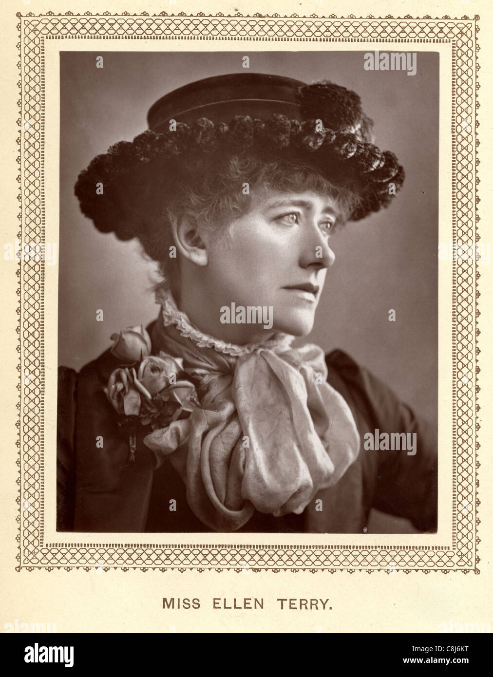 Vintage photograph from 1883 of Dame Ellen Terry an English stage actress who became a leading Shakespearean actress - Stock Image